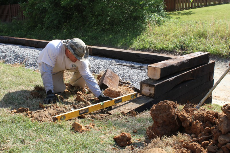 A Railroad Tie Retaining Wall